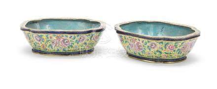 A pair of painted enamel quatre-lobed jardinieres