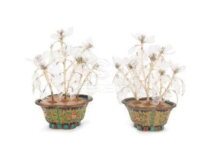 A pair of champlevé enamel quatrefoil jardinières