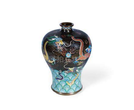 A cloisonné enamel baluster vase, meiping
