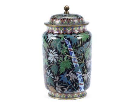 A cloisonné enamel jar and cover