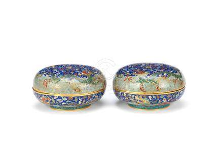 A pair of cloisonné enamel 'dragon' boxes and covers