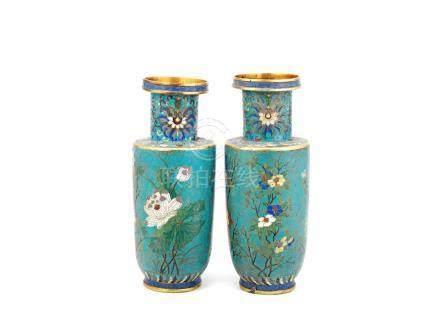A pair of cloisonné enamel rouleau vases