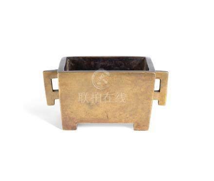 A rectangular bronze incense burner