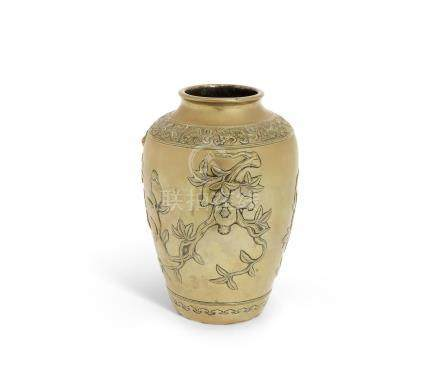 A bronze 'Three Abundances' baluster vase
