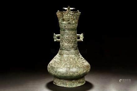 ARCHAIC BRONZE 'DRAGONS' JAR, RITUAL VESSEL
