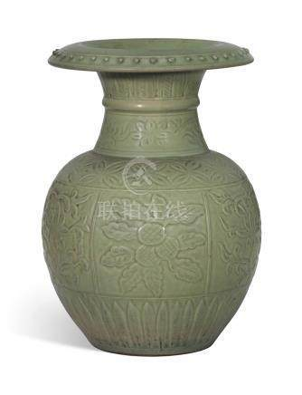 A RARE LONGQUAN CELADON-GLAZED CARVED AND MOULDED POMEGRANATE-FORM VASE, SHILIU ZUNEARLY MING DYNASTY, 14TH-15TH CENTURY