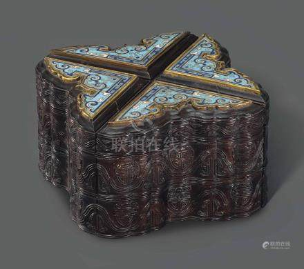 A ZITAN FOUR-PART THREE-TIERED LOBED BOX WITH INSET CLOISONNÉ ENAMEL PANELS18TH-19TH CENTURY