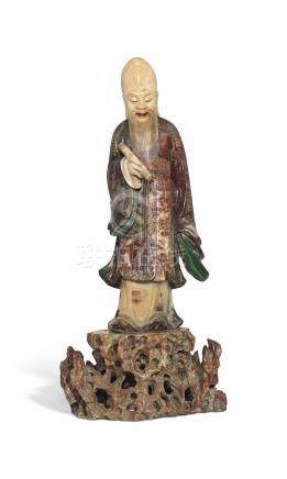 A POLYCHROME AND GILT-DECORATED SOAPSTONE FIGURE OF SHOULAO18TH-19TH CENTURY