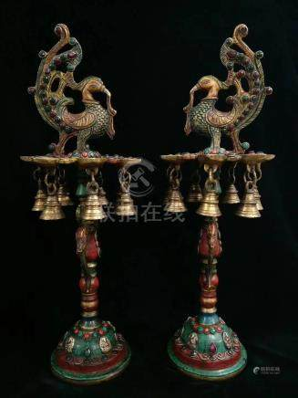 PAIR OF TIBET BRONZE JEWELRY EMBEDED CANDLE HOLDERS