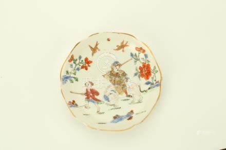 清雍正   粉彩繪外國人與大象圖咖啡杯碟一套