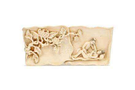 清十九世紀   象牙雕臂擱