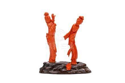 清十九世紀   珊瑚雕仕女像