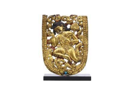 西藏十八世紀   銅鎏金人形飾