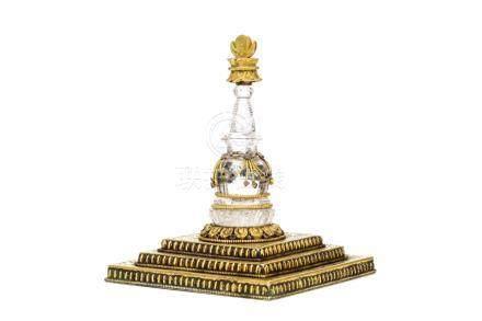 十九世紀   天然水晶鑲銅鎏金佛塔