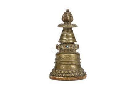 西藏約十四世紀   噶當派銅佛塔