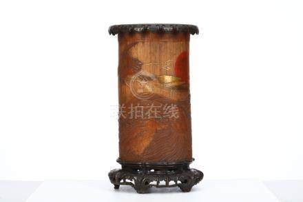 A SUPERBLY CARVED LARGE BAMBOO BRUSH POT. Edo period.