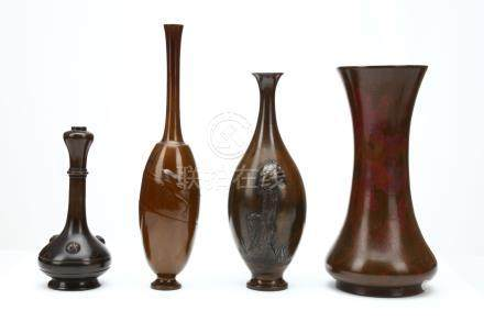FOUR BRONZE VASES. 19th Century.