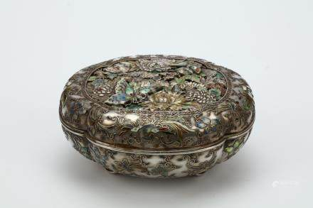 A SILVER AND ENAMEL 'MILLEFLEUR' BOX AND COVER. Meiji period.