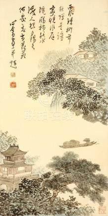 溥儒(傳) 樓亭水閣