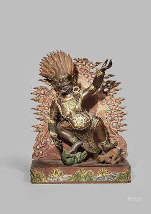 A TIBETAN GILT COPPER FIGURE OF THE PROTECTOR BEGTSE CHEN