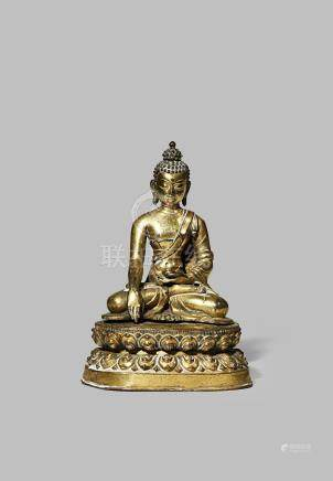 A CHINESE GILT BRONZE FIGURE OF BUDDHA SAKYAMUNI