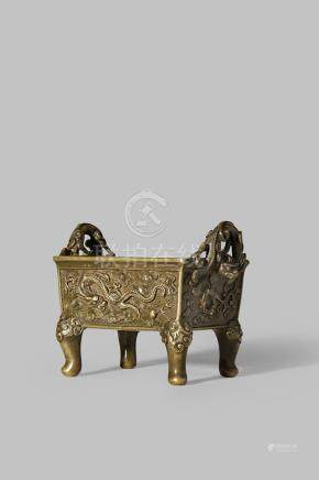 A CHINESE BRONZE INCENSE BURNER BY HU WEN MING