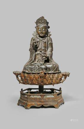 A LARGE CHINESE BRONZE FIGURE OF GUANYIN