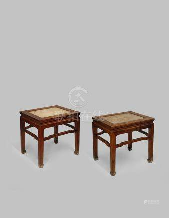 A PAIR OF CHINESE HARDWOOD CORNER-LEG STOOLS