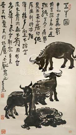 A CHINESE SCROLL PAINTING ON PAPER AFTER LI KE RAN