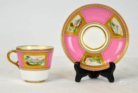English Pink Enamel Cup & Saucer