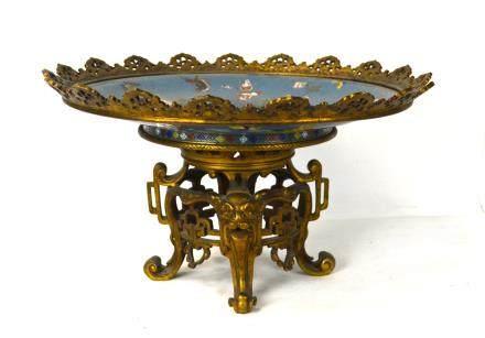 Gilt Bronze Cloisonne Enamel Centerpiece