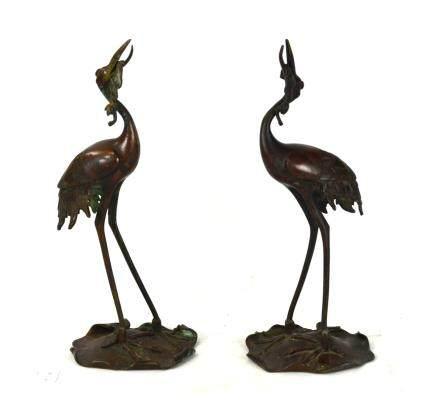 Pr Asian Bronze Cranes Figure Candle Holders