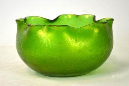 Loetz Style Green Art Glass Bowl