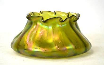 Possible Loetz Yellowish Green Shadow Bowl/Vase