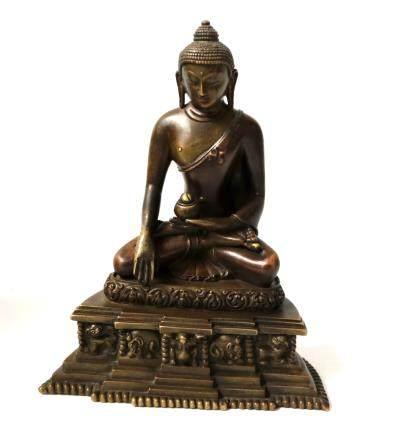 Chinese Bronze Buddha Figure with Wood Box