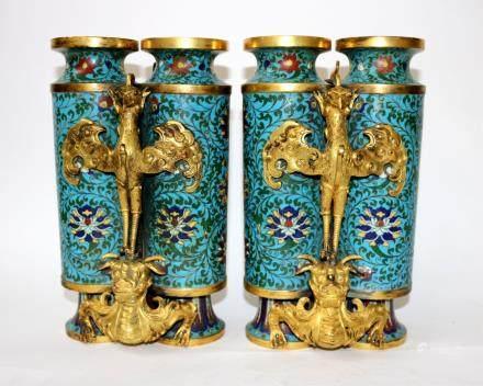 18th Cen. Pr Chinese Cloisonne Double Vases