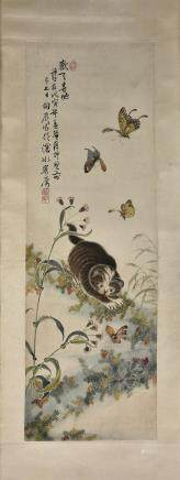 YANG XIANGCHEN (QING DYNASTY), CAT AND BUTTERFLY