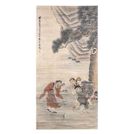 陳 崇光 1873 戲蛙圖