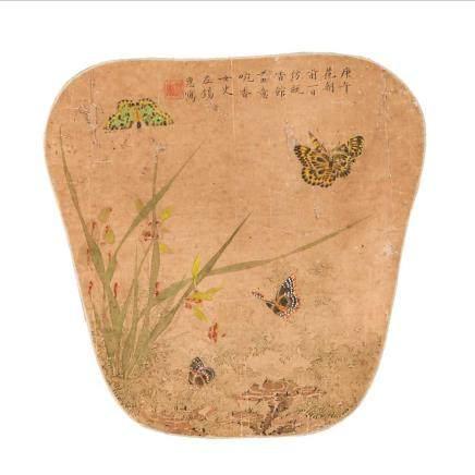 左 錫惠  蘭蝶 扇面