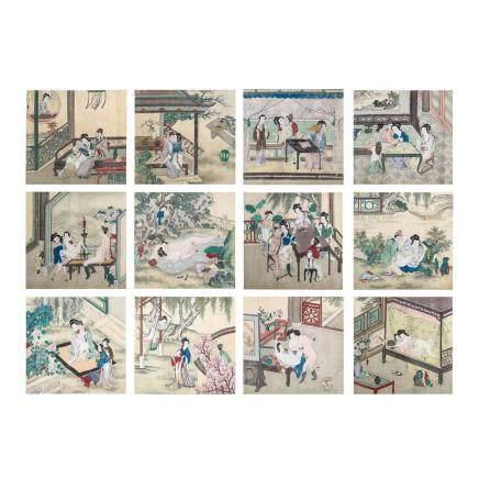 清 春宮圖卷 12枚
