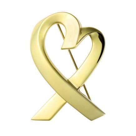 蒂芙尼  愛心形 黃金胸針