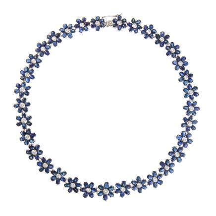 藍寶石 鑽石 白金項鍊
