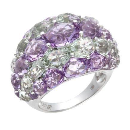 水晶 鑽石 白金戒指