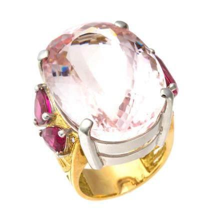 55.71 ct 摩根石 碧璽 鑽石 鉑金 & 黃金戒指