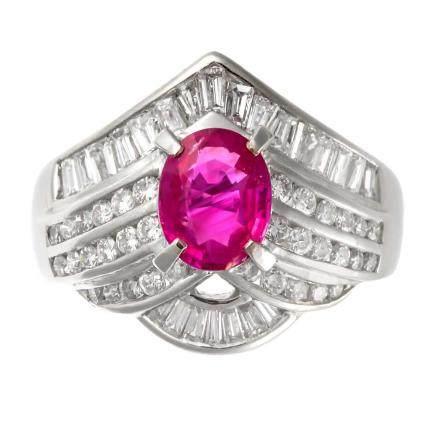1.34 ct 緬甸產 紅寶石 鑽石 鉑金戒指 (非加熱)