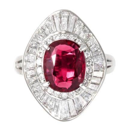 2.01 ct 紅寶石 鑽石 鉑金戒指