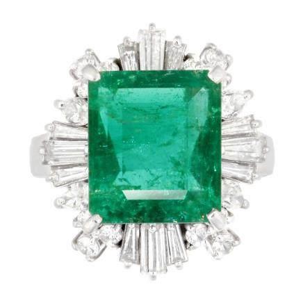3.75 ct 祖母綠石 鑽石 鉑金戒指