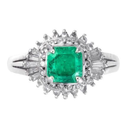 1.08 ct 祖母綠石 鑽石 鉑金戒指