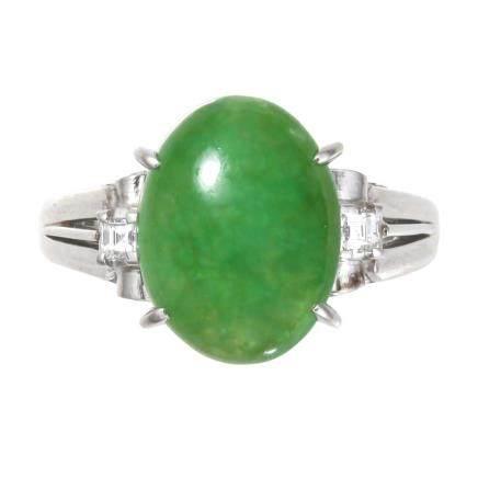 翡翠 鑽石 鉑金戒指