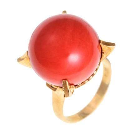 17.5 mm 珊瑚 黃金戒指